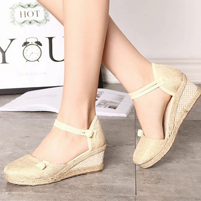 Espadrilles Button Daily Cloth Wedge Sandals_15