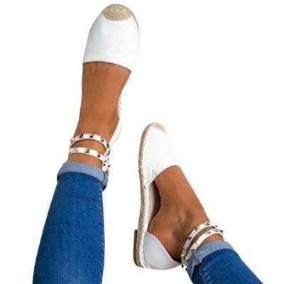 Comfortable Adjustable Buckle Rivet Sandals_15