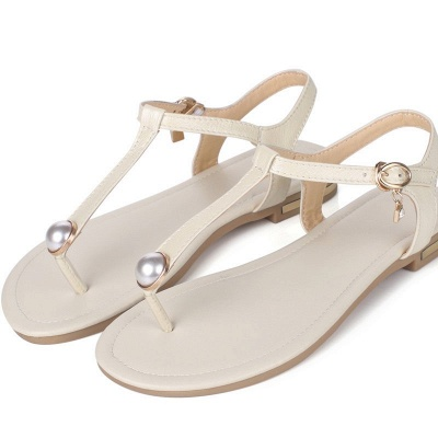Flip-flops Imitation Pearl Daily Summer Buckle Sandals_2