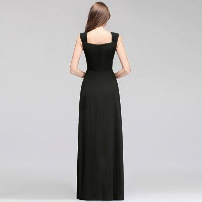 Black Cheap Long Ruffles Sleeveless Straps Evening Dress_3
