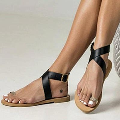 Flat Heel Buckle Open Toe Sandals_1
