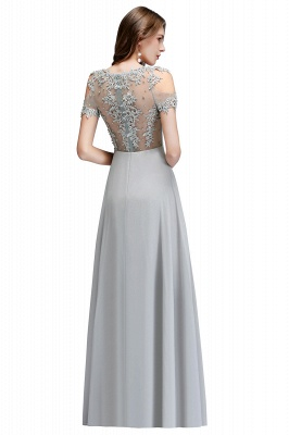 A-Line Appliques Scoop Beaded Silver Cheap Cold-Shoulder Bridesmaid Dresses_5
