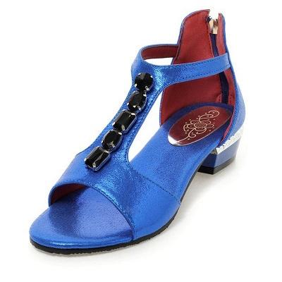 Rhinestone PU Daily Peep Toe Zipper Summer Sandals_3