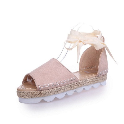 Lace-up Casual Flocking Platform Sandals_2