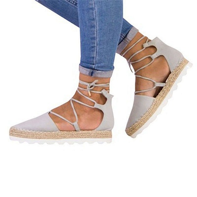 Espadrilles Lace-up Hollow Out Round Toe Suede Sandals_10