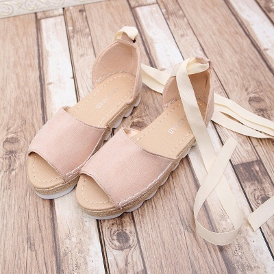 Lace-up Casual Flocking Platform Sandals_14