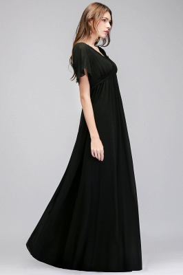 Black A-Line Chiffon V-Neck Cheap Bridesmaid Dresses_4