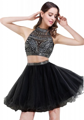 Cheap Sexy Crystal Beads Tulle Sleeveless Two-piece Short Prom Dress in Stock_3