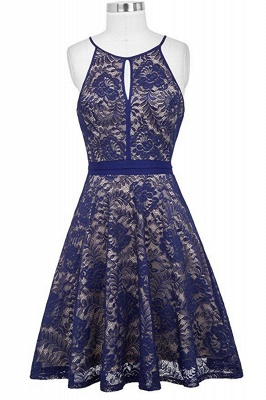 Women's Halter Floral Lace Cocktail Party Dress Homecoming Dress_5