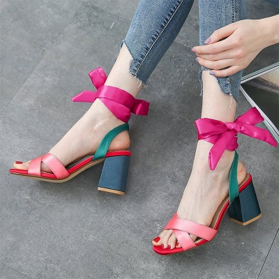 Fuchsia Bowknot Daily Chunky Sandals_5