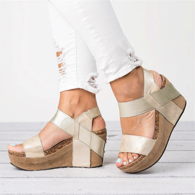 Double Straps Daily PU Peep Toe Wedge Sandals_2