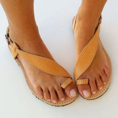 Brown Flat Heel Summer Buckle Sandals_3
