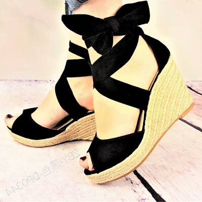 Espadrilles Bowknot Peep Toe Summer Wedge Sandals_5