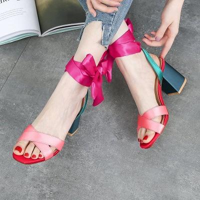 Fuchsia Bowknot Daily Chunky Sandals_7