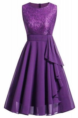 Women's Vintage Sleeveless Ruffles Belt Floral Lace Bridesmaid Chiffon Dress_5