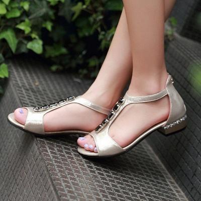 Rhinestone PU Daily Peep Toe Zipper Summer Sandals_7