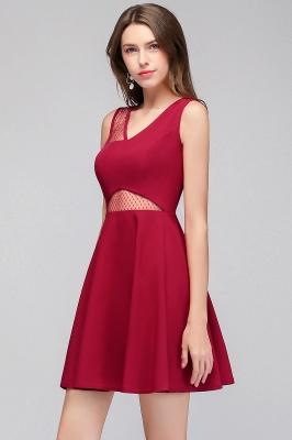 Cheap A-line Sleeveless Short V-neck Tulle Neckline Homecoming Dress in Stock_9