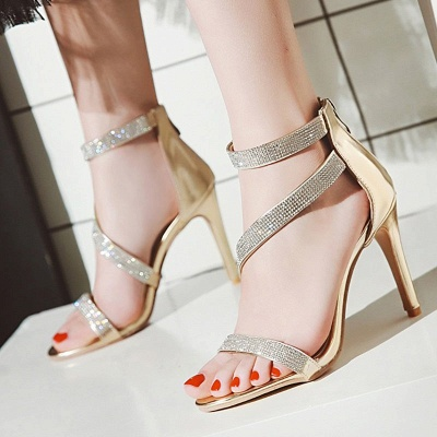 Rhinestone Cocktail Sparkling Glitter Zipper Stiletto Sandals_2