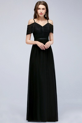 Cold-Shoulder Black  Sexy Short-Sleeves Lace Evening Dress_4