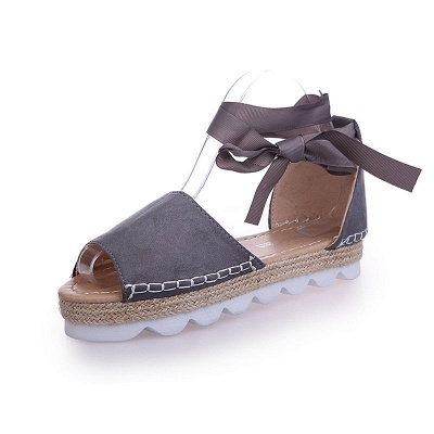 Lace-up Casual Flocking Platform Sandals_9