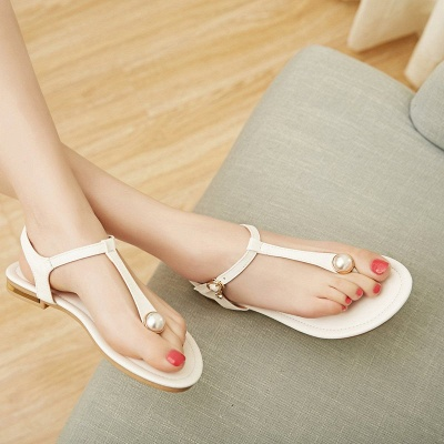 Flip-flops Imitation Pearl Daily Summer Buckle Sandals_13