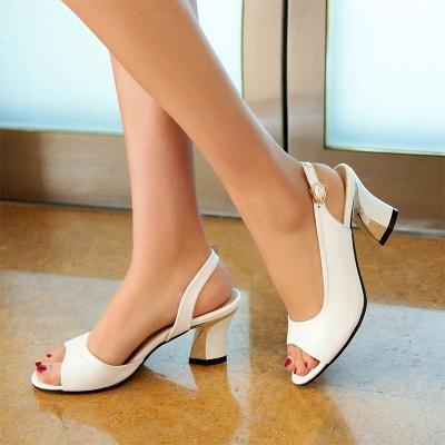 Summer Buckle PU Dress Peep Toe Chunky Sandals_6