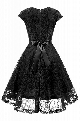 Women's Vintage 1950s Short Sleeve A-Line Cocktail Party Swing Dress with Floral Lace_6