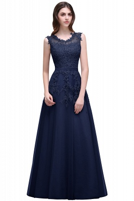 A-line Floor-length Tulle Prom Dress with Appliques_5