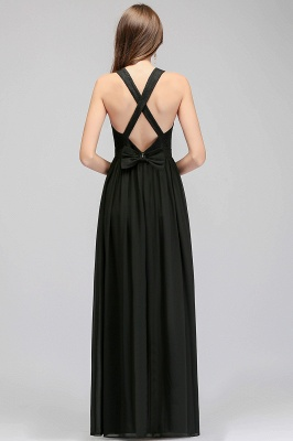 Crisscross Lace A-line  V-Neck Black Evening Dress_3