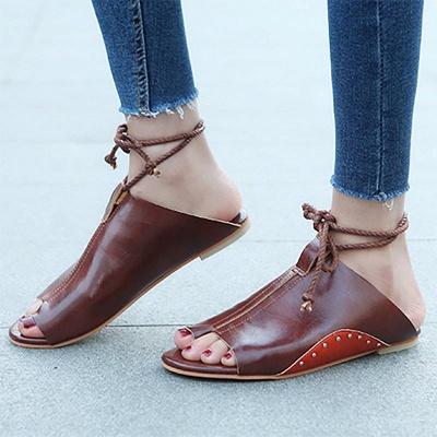 Braided Strap Daily Flat Heel Sandals_8