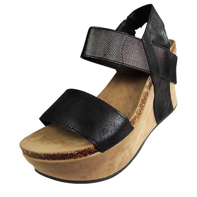 Double Straps Daily PU Peep Toe Wedge Sandals_4