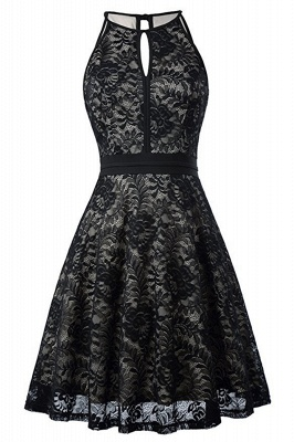 Women's Halter Floral Lace Cocktail Party Dress Homecoming Dress_18