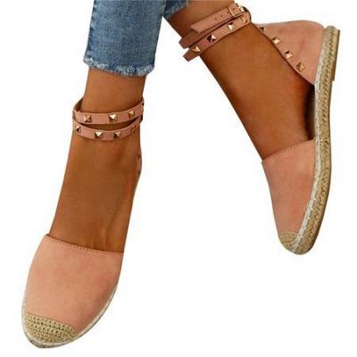 Comfortable Adjustable Buckle Rivet Sandals_11