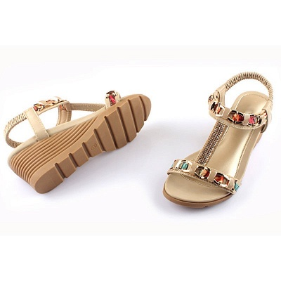 Rhinestone Date Chain Hollow-out Women Summer Wedge Sandals_7