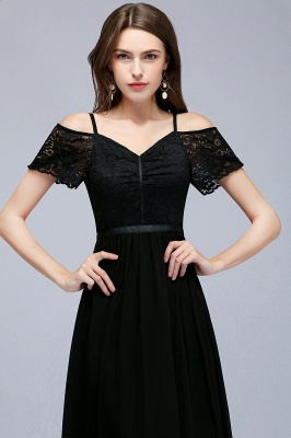 Cold-Shoulder Black  Sexy Short-Sleeves Lace Evening Dress_7