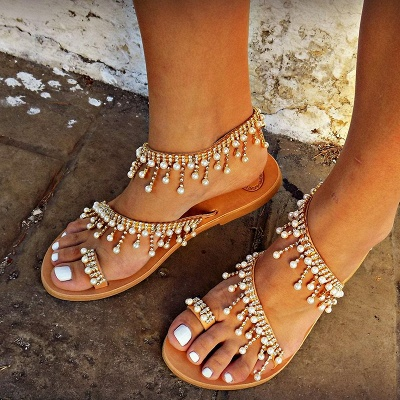 Women Leather Sandals Casual Pearls Shoes_4