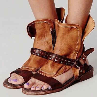 Rivet PU Flat Summer Daily Peep Toe Buckle Sandals_11