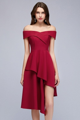 Cheap A-line Asymmetrical Short Off-the-shoulder Burgundy Prom Dress in Stock_2