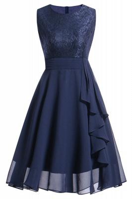 Women's Vintage Sleeveless Ruffles Belt Floral Lace Bridesmaid Chiffon Dress_8
