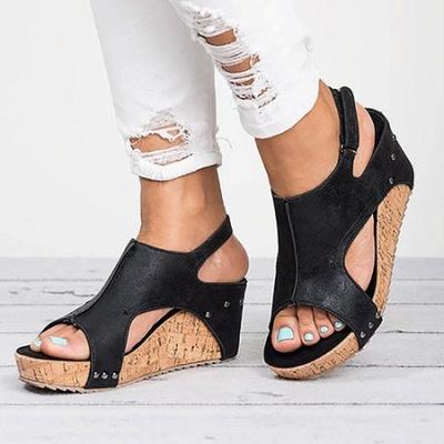 Peep Toe PU Blocking Hook-Loop Wedge Sandals_14