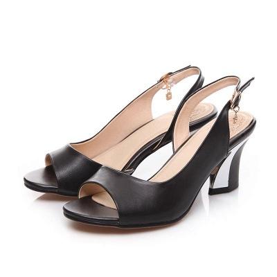Summer Buckle PU Dress Peep Toe Chunky Sandals_3