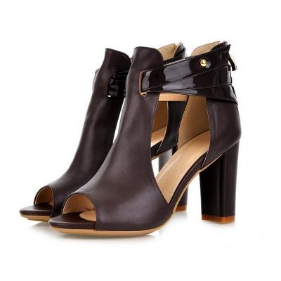 Hollow-out Peep Toe Zipper Summer Chunky Sandals_2