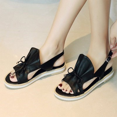 Peep Toe Bowknot Comfortable Summer Hollow-out Casual Sandals_7