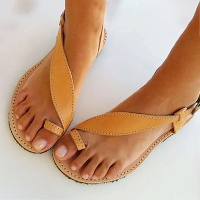 Brown Flat Heel Summer Buckle Sandals_1