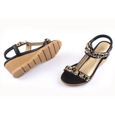 Rhinestone Date Chain Hollow-out Women Summer Wedge Sandals_8
