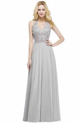 Cheap A-line V-neck Sleeveless Long Appliques Chiffon Bridesmaid Dress in Stock_3