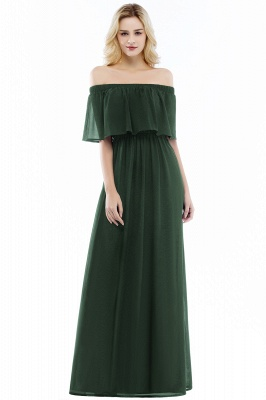Cheap A-line Off-the-Shoulder Chiffon Bridesmaid Dress in Stock_4