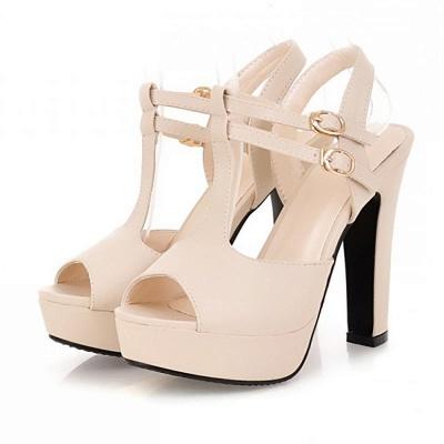Platform Buckle Date Peep Toe Women Summer Sandals_2