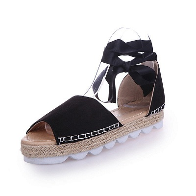 Lace-up Casual Flocking Platform Sandals_5