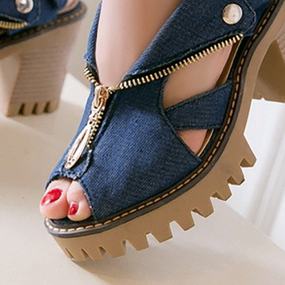 Denim Peep Toe Platform Women Chunky Sandals_10